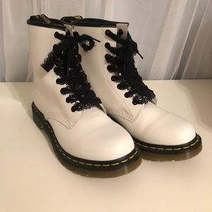 White smooth leather 1460 boots
